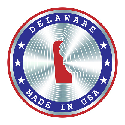 Made in Delaware local production sign, sticker, seal, stamp. Round hologram sign for label design and national USA marketing