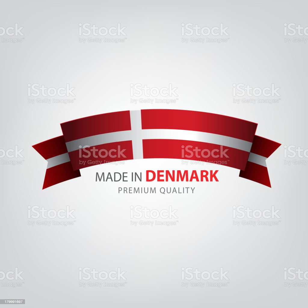 Made in Denmark, seal, Flag, (Vector) vector art illustration