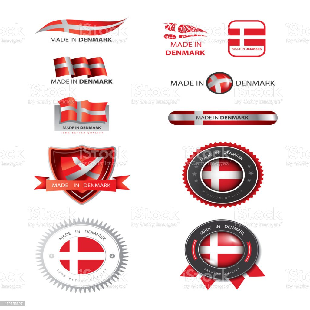 Made in Denmark seal, flags vector art illustration
