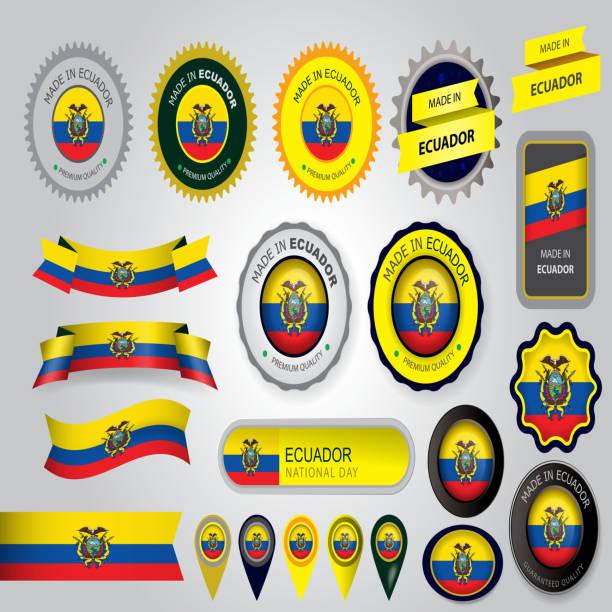 、エクアドルシール、エクアドル共和国国旗(ベクター素材) ベクターアートイラスト