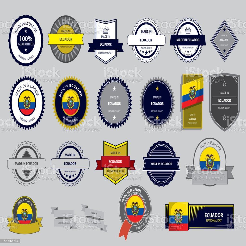 Feito no Equador Selo, República do Equador bandeira (vetores) - ilustração de arte em vetor