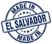 made in El Salvador blue grunge round stamp