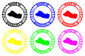 Made in El Salvador - rubber stamp - vector, El Salvador map pattern - black, blue, green, yellow, purple and red