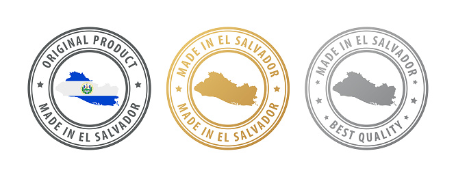 Made in El Salvador - set of stamps with map and flag. Best quality. Original product.