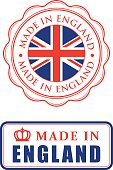 Two different made in England rubber stamps with text and UK flag. Isolated on white. Eps8.
