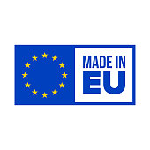 Made in EU quality certificate label. Vector made in EU product warranty stars blue flag in frame