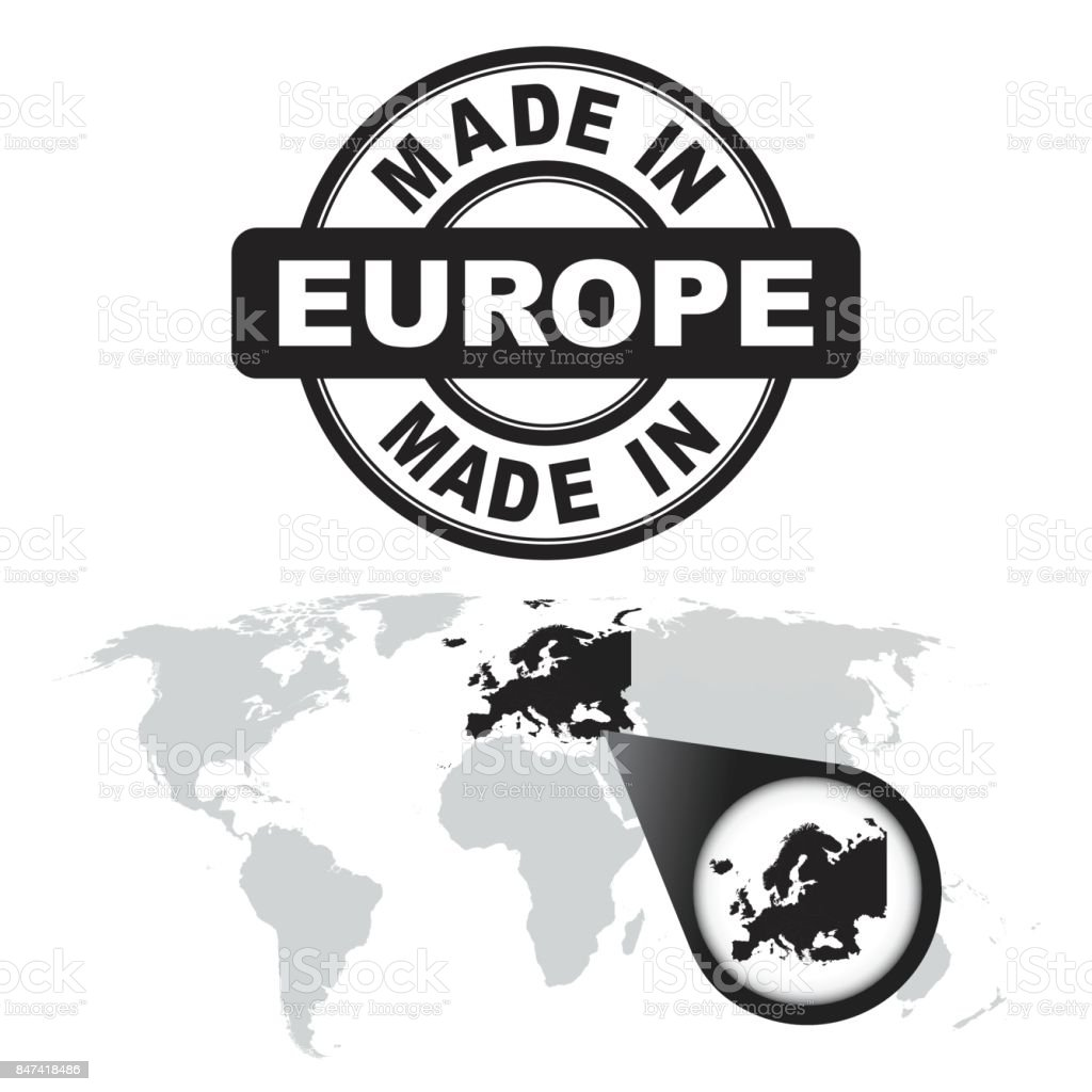 Made in europe stamp world map with zoom on country vector emblem world map with zoom on country vector emblem in flat gumiabroncs Choice Image