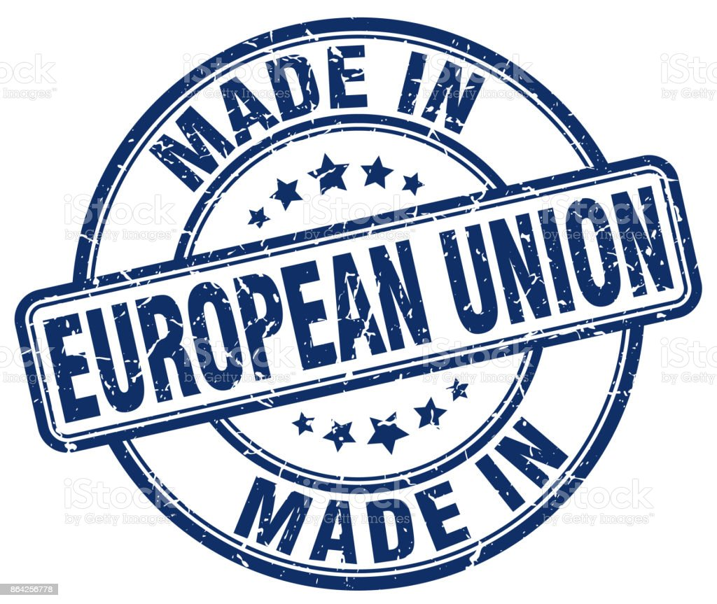 made in european union blue grunge round stamp royalty-free made in european union blue grunge round stamp stock vector art & more images of abdication