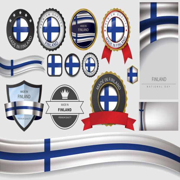 made in finland seal, finnish flag (vector art) - finnish flag stock illustrations, clip art, cartoons, & icons