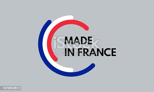 istock made in france, 3 colors arcs vector logo 1070542812