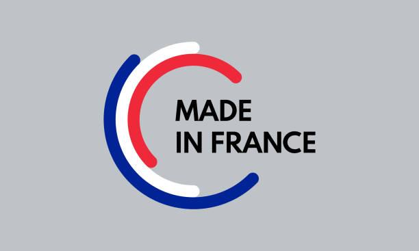 wykonane we francji, 3 kolory łuki logo wektora - francja stock illustrations