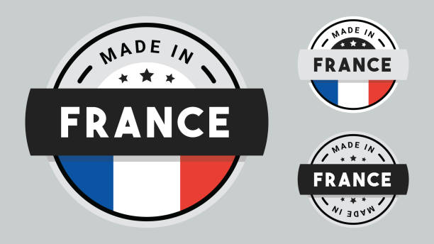 Made in France collection of ribbon, label, stickers, badge, icon and page curl with France flag symbol. Made in France labels set, French product emblem stock illustration. french culture stock illustrations