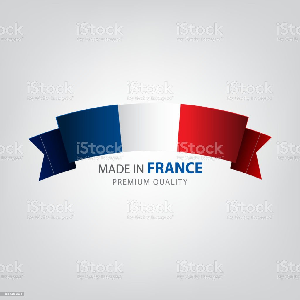 Made in FRANCE, French ribbon, Flag, (Vector) vector art illustration