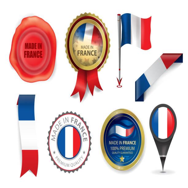 ilustraciones, imágenes clip art, dibujos animados e iconos de stock de hecho en la colección de francia, icono bandera francesa (arte vectorial) - bandera francesa