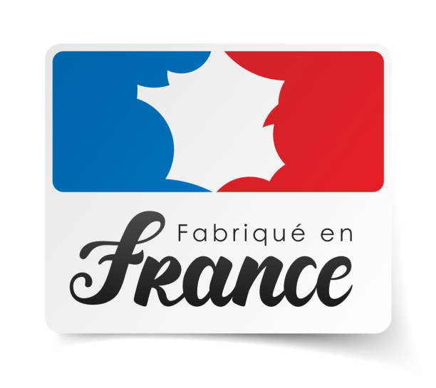 """illustrations, cliparts, dessins animés et icônes de """"made in france» en français: fabriqué en france - france"""