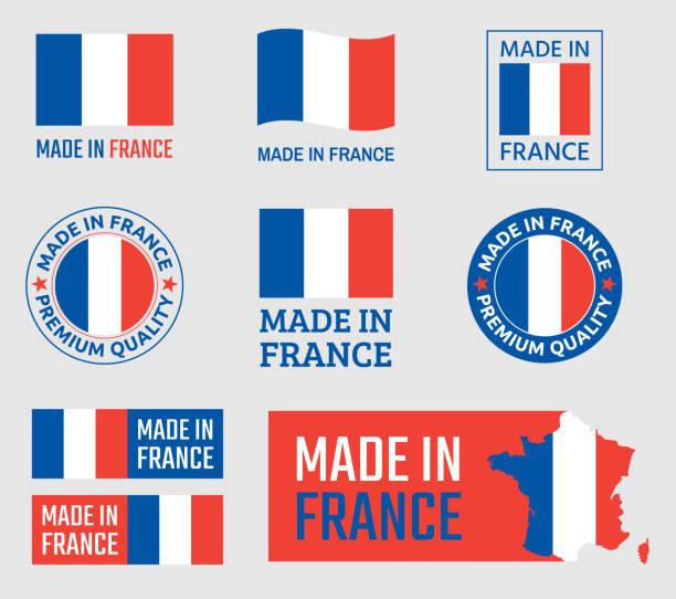 wykonane we francji zestaw etykiet, francuski emblemat produktu - francja stock illustrations