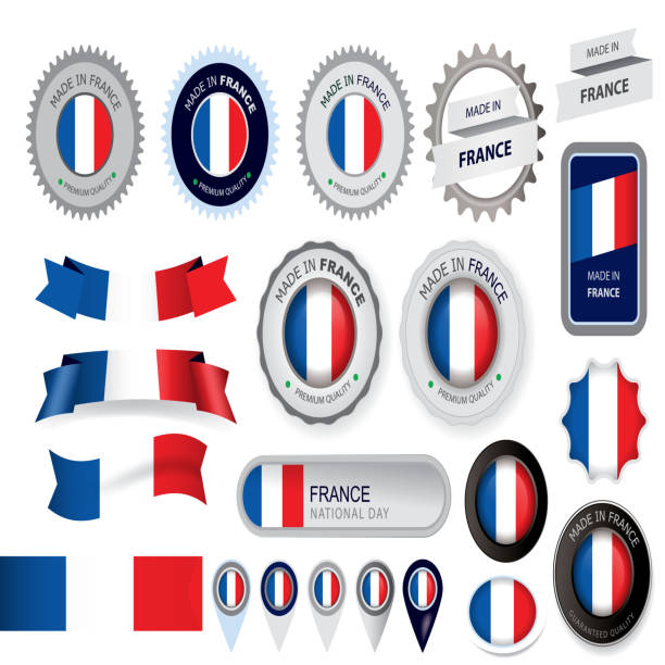 ilustraciones, imágenes clip art, dibujos animados e iconos de stock de hecho en francia, junta, bandera francesa (arte vectorial - bandera francesa