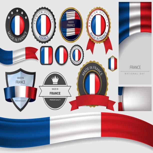 ilustrações, clipart, desenhos animados e ícones de feita em frança, selo e bandeira francesa (vetores - bandeira da frança