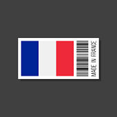 made in france, vector sticker with bar code and french flag