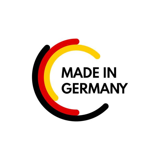 wykonane w niemczech, zaokrąglone prostokąty logo wektora na białym tle - niemcy stock illustrations