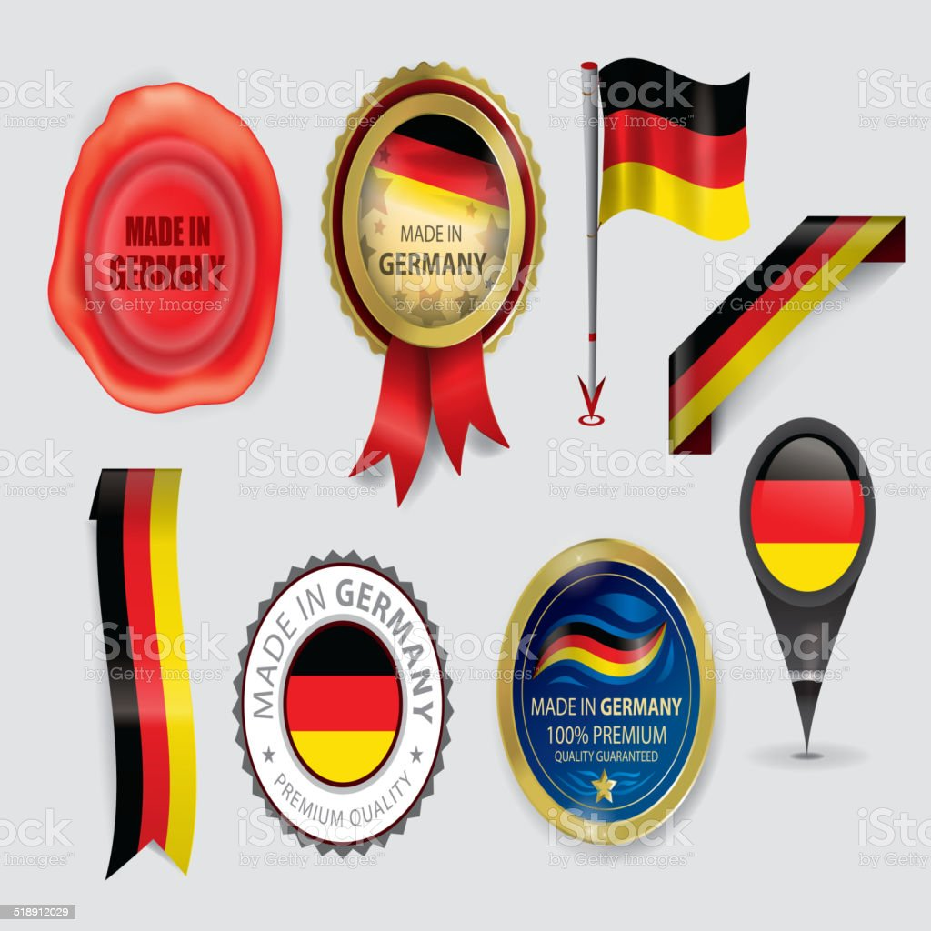 Made in Germany Seal, German Flag (Vector Art) vector art illustration