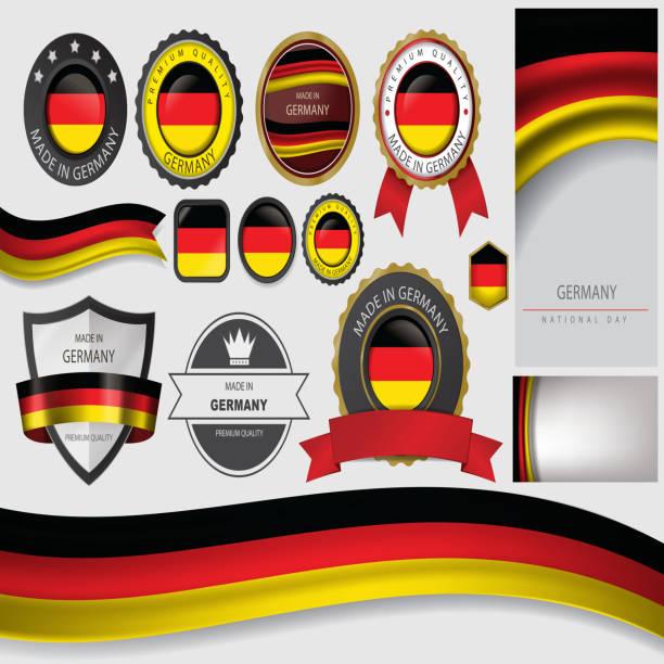 ilustraciones, imágenes clip art, dibujos animados e iconos de stock de realizado en alemania, junta, de bandera alemana (arte vectorial) - bandera alemana