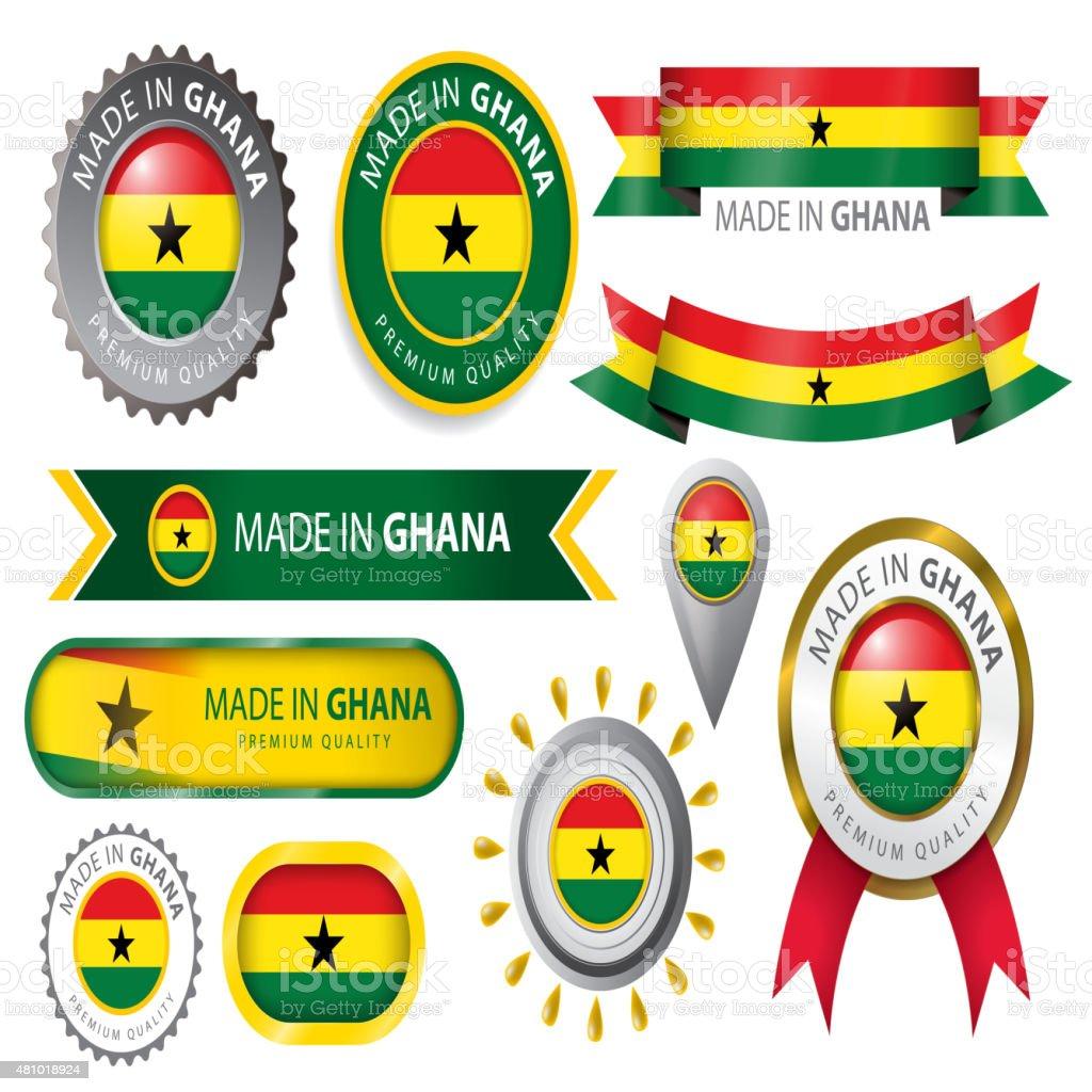 Hecho en sello de bandera de Ghana Ghanian (arte vectorial - ilustración de arte vectorial