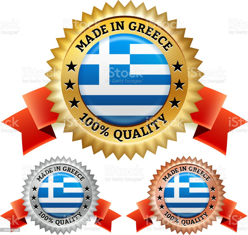 Made in Greece Badge royalty free vector icon set royalty-free stock vector art