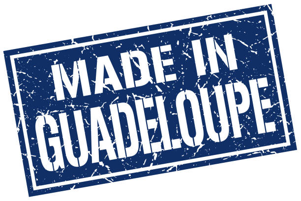 made in Guadeloupe stamp made in Guadeloupe stamp blue silhouettes stock illustrations