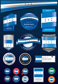 Made in HONDURAS Seal and Icon Collection,REPUBLIC OF HONDURAS National Flag (Vector Art)