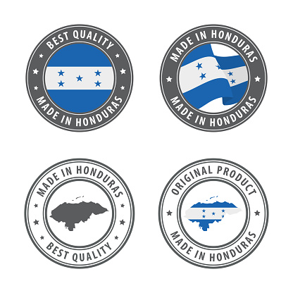 Made in Honduras - set of labels, stamps, badges, with the Honduras map and flag. Best quality. Original product.