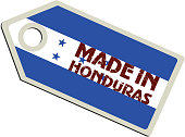 vector illustration of label with flag of Honduras