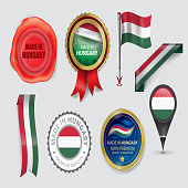 Made in Hungary Seal Collection, Hungarian Flag (Vector Art)