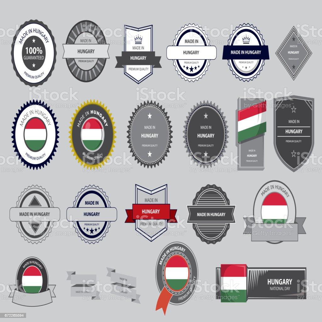Made in Ungarn Siegel, ungarische Flagge (Vektorgrafiken) – Vektorgrafik