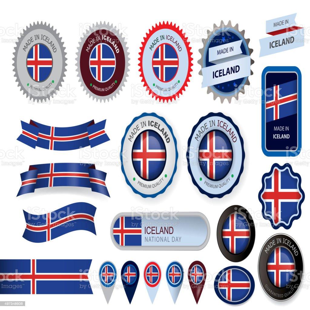 Made in Iceland Seal, Icelandic Flag (Vector Art) vector art illustration
