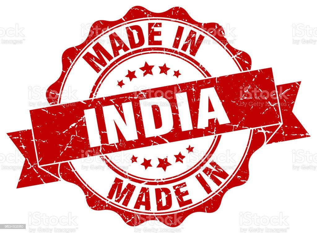 Hindistan'da yapılan mühür yuvarlak - Royalty-free Amblem Vector Art