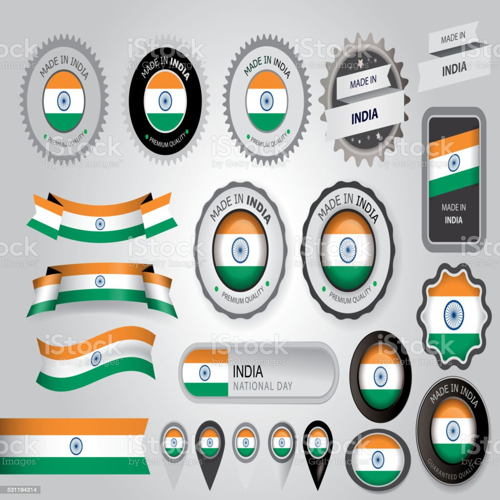 Made in India Seal, Indian Flag (Vector Art) vector art illustration