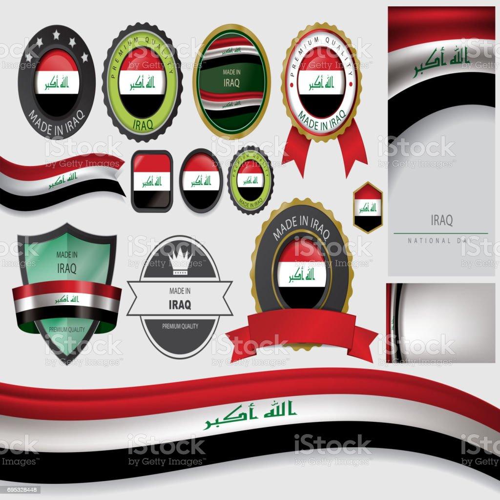 Made in Iraq Seal, Iraqi Flag (Vector Art) vector art illustration