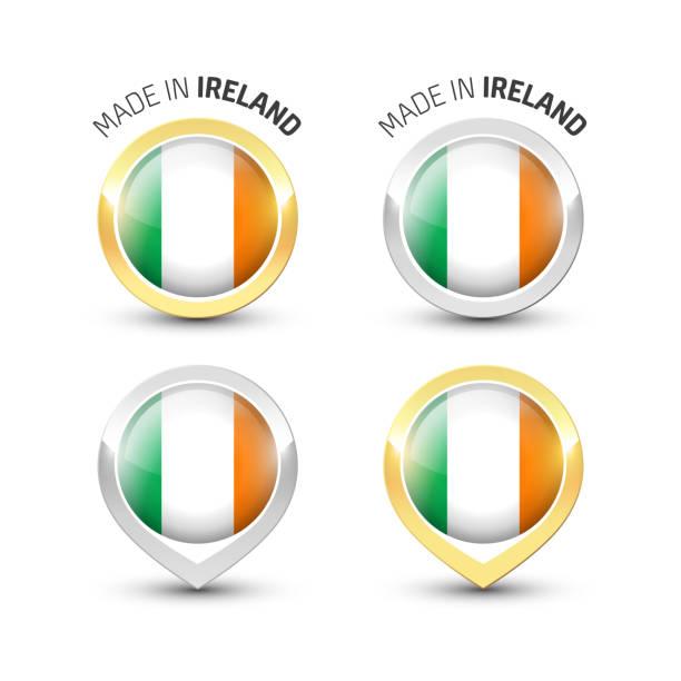 ilustraciones, imágenes clip art, dibujos animados e iconos de stock de fabricado en irlanda-etiquetas redondas con banderas - bandera irlandesa