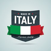 Made in Italy badge. Vector emblem with Italy flag, ribbon and rays. Fully scalable for web or print.