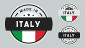 Made in Italy labels set, Italian product emblem stock illustration.