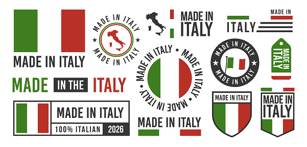 Made in Italy labels, signs. Italy patriotic signs. Italian banners templates. Vector illustration.