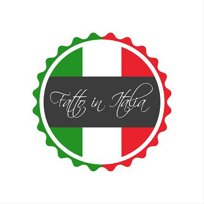 Made in Italy symbol, In the Italian language - Fatto in Italia, italian sticker, vector symbol isolated on a white background