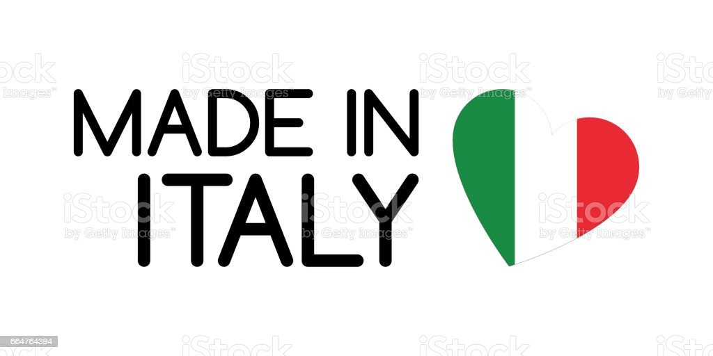 Made In Italy Symbol With Heart In The Colors Of The Italian