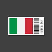 made in italy, vector sticker with bar code and italian flag