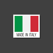 made in italy, vector sticker with italian flag