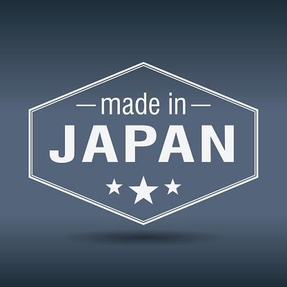 made in Japan hexagonal white vintage label