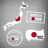Made in Japan rubber stamps icon isolated on transparent background. Manufactured or Produced in Japan.  Map of  Japan. Set of grunge rubber stamps. EPS10.