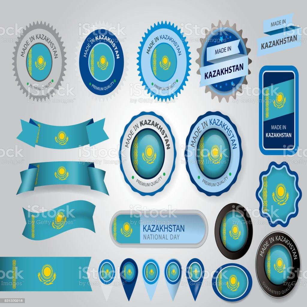 Made in Kazakhstan Seal, Kazakh Flag (Vector Art) vector art illustration