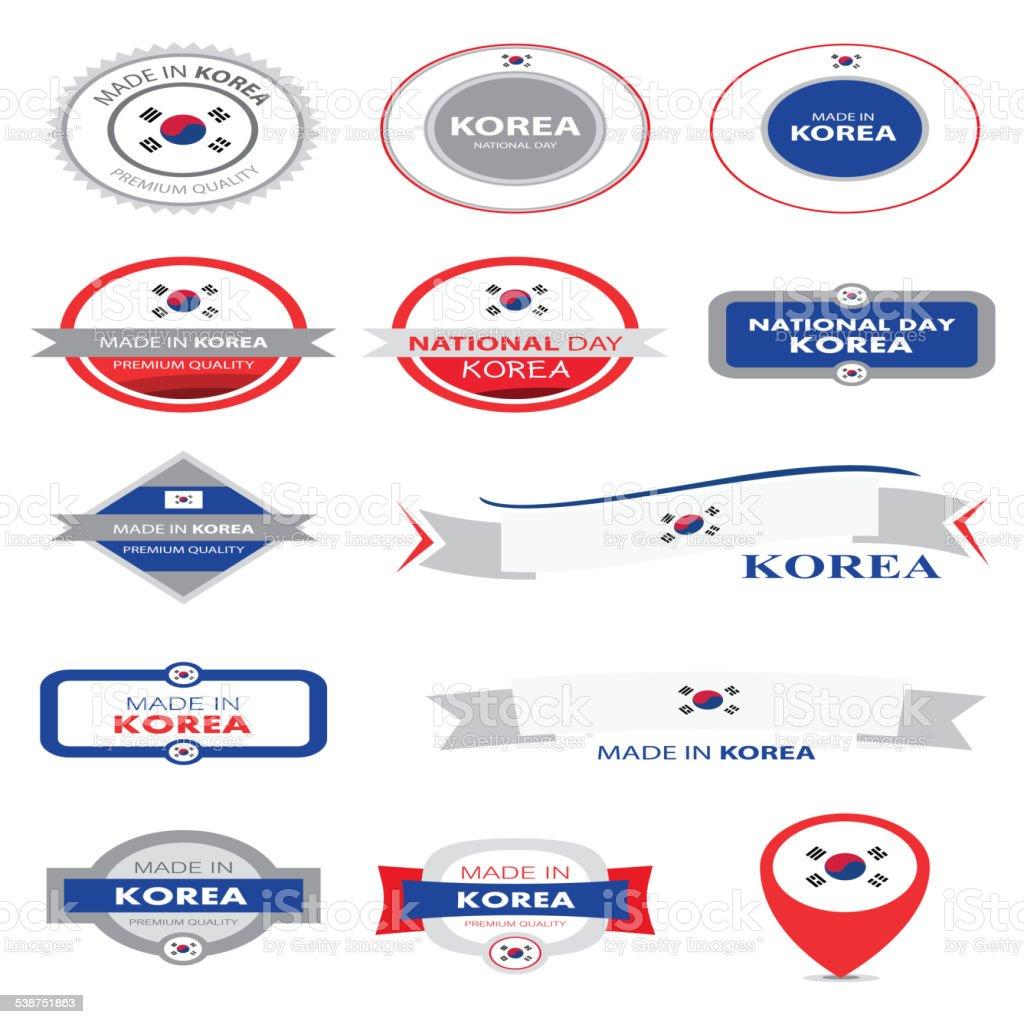 Feito na Coreia coleção de selo e bandeira vetorizadas (coreano) - ilustração de arte em vetor
